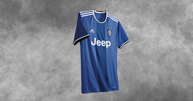 Image of the new adidas and Juventus away shirt in blue for the 2016-17 Serie A season
