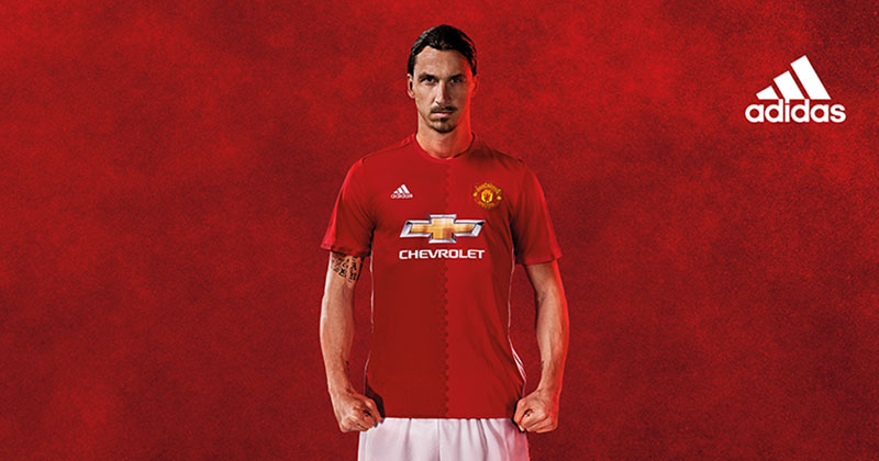 image of the Zlatan Ibrahimovic in the new Manchester United Home shirt for 2016-17 by adidas football