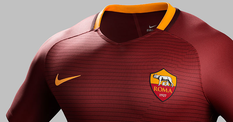 image of the new 2016-17 AS Roma home shirt by Nike football for the Serie A