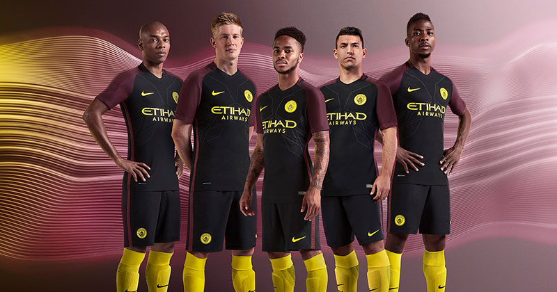 Image of the new nike and Manchester City away kit for 2016-17