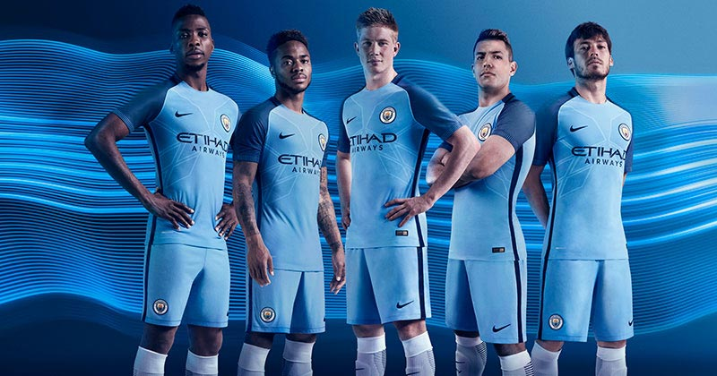 Image of the new Manchester City home kit for the 2016-17 premier league season by Nike