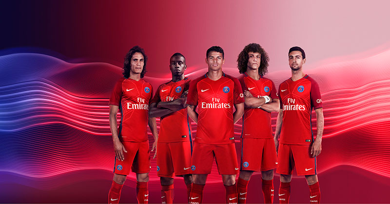 Image of the new Paris Saint-Germain away shirt for 2016-17 made by Nike Football
