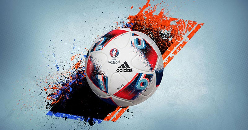 image of the new adidas fracas match ball for the uefa euro 2016 knock out phase