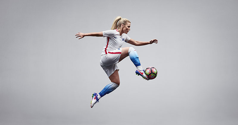 Image of the new United States Women's National team home shirt from Nike football and the Spark Brilliance Boot Pack