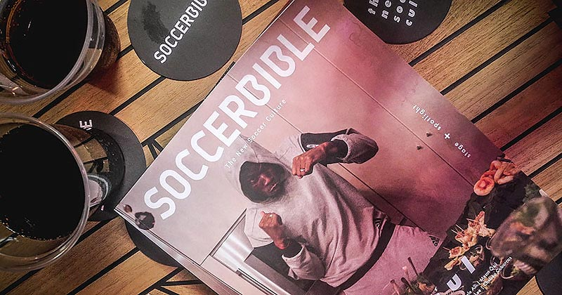 image of the latest issue of Soccerbible magazine 6, featuring paul pogba at the adidas hosted event in Shoreditch