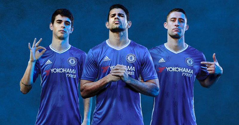 Image of Diego Costa in the new Chelsea Football Club Home shirt for 2016-17 by adidas