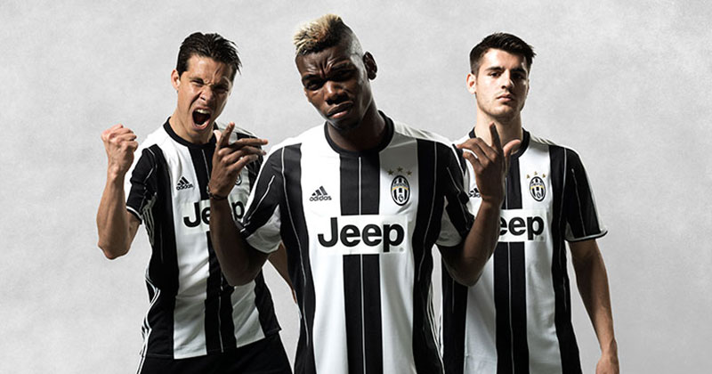 Image of the new adidas and Juventus home shirt for 2016 - 2017 featuring Hernanes, Morata and Paul Pogba