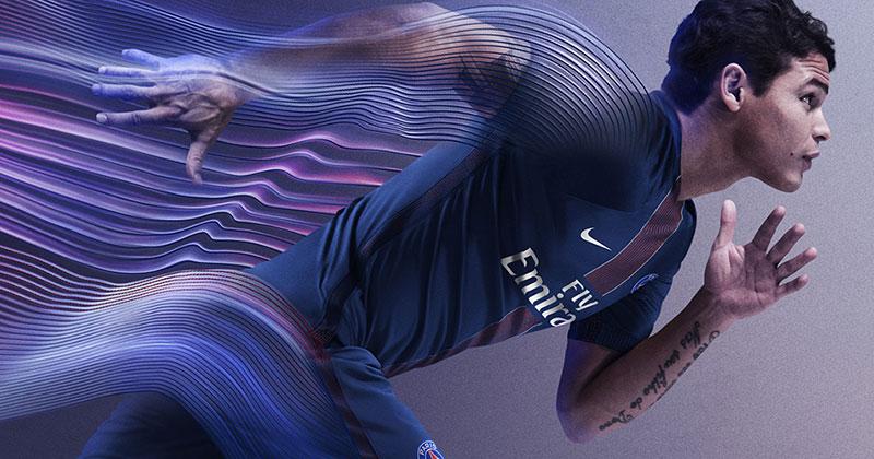 Image of the new Paris Saint-Germain and Nike football home shirt for 2016-17 featuring Thiago Silva