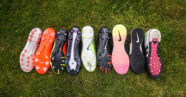 Image of a range of football boot soleplates