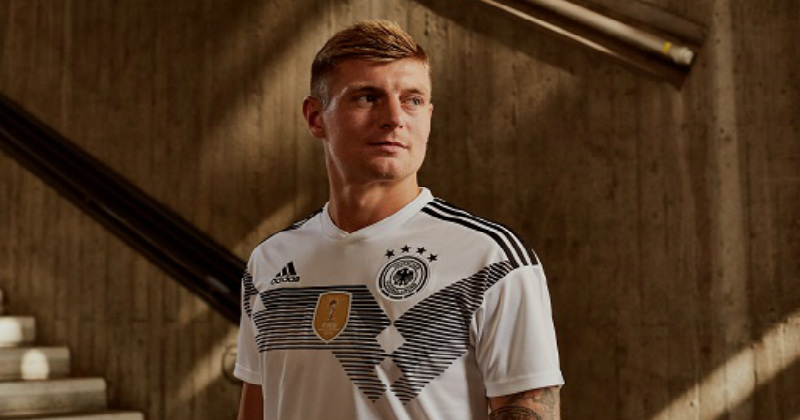 f187b4fd3 Toni Kroos Wearing the New German Kit 2017. The Reigning Champions  the 2018  World Cup ...