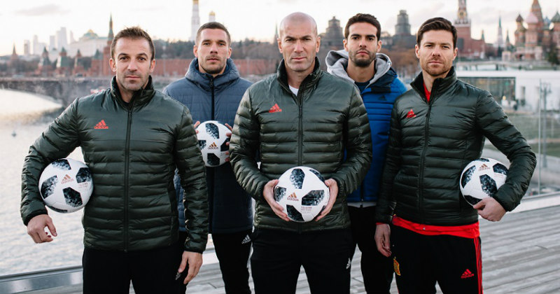 Zidane and others holding the new Adidas World Cup 2018 Football