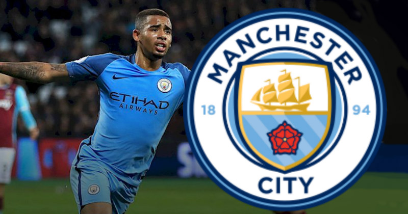 Gabriel Jesus with the Manchester City Badge