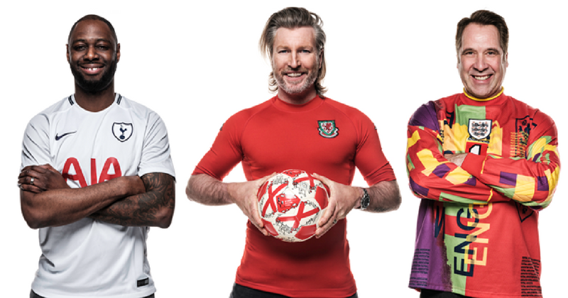 Ledley King, Robbie Savage and David Seaman in their favourite football shirts