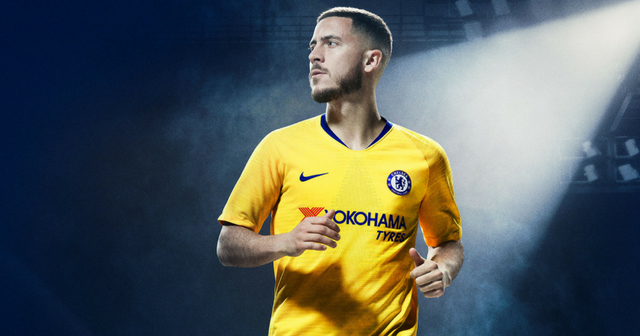 Eden Hazard in the new Chelsea shirt