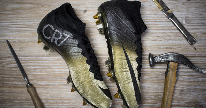 gold CR7 boots