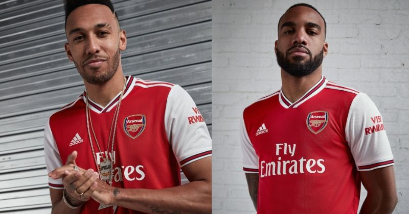 aubamayeng and lacazette wearing arsenal 2019-20 home shirt