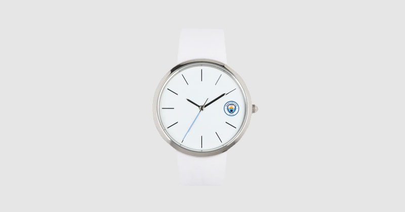 white leather man city strap watch for women