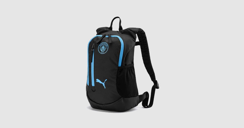 black and light blue backpack