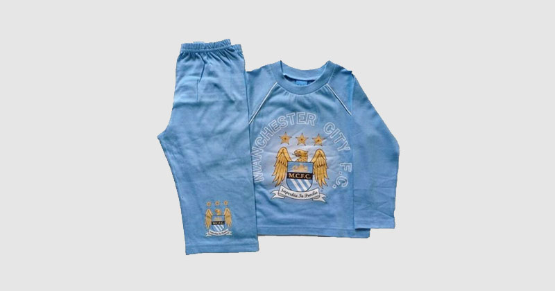 light blue manchester city pyjama top and bottoms