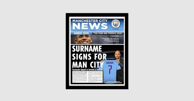 framed personalised newspaper print of recipient signing for city