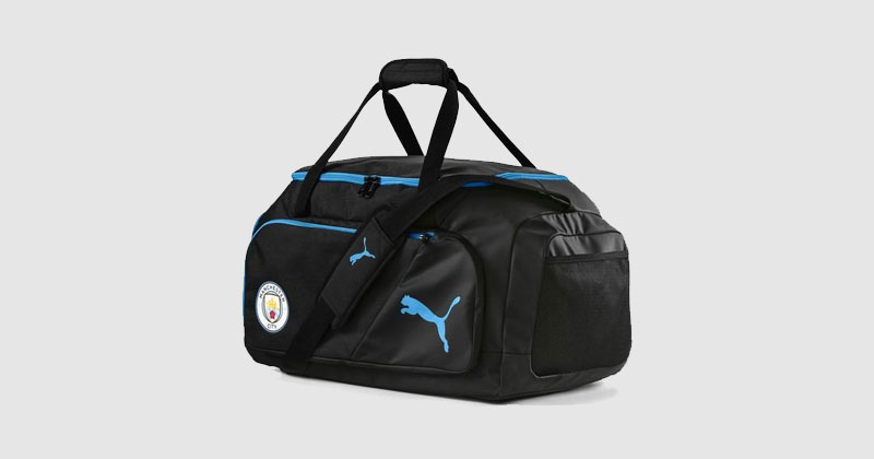 black sports bag featuring man city crest