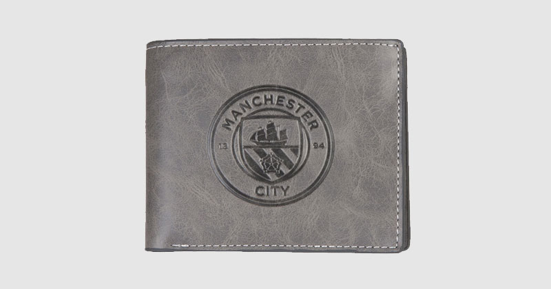 black wallet featuring embossed city crest