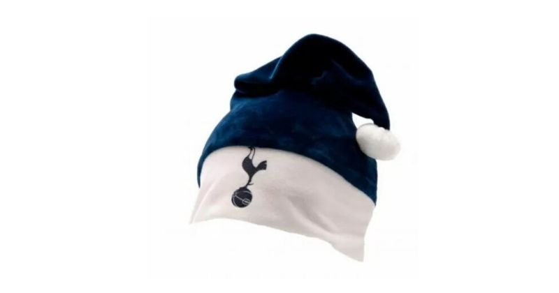 blue spurs santa hat featuring the club emblem
