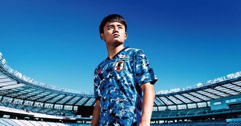 japan 2020 home shirt featuring a blue camo pattern