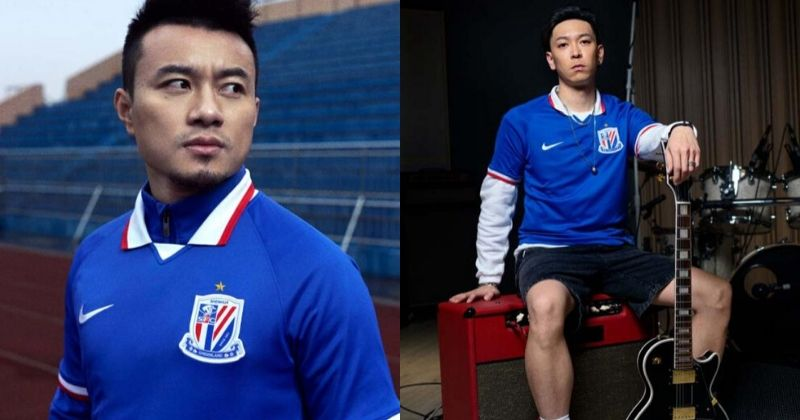 players wearing the blue shanghai shenhua 2020 home shirt from nike