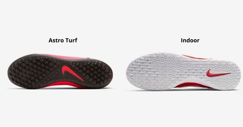 sole of astro and indoor trainers laid side by side