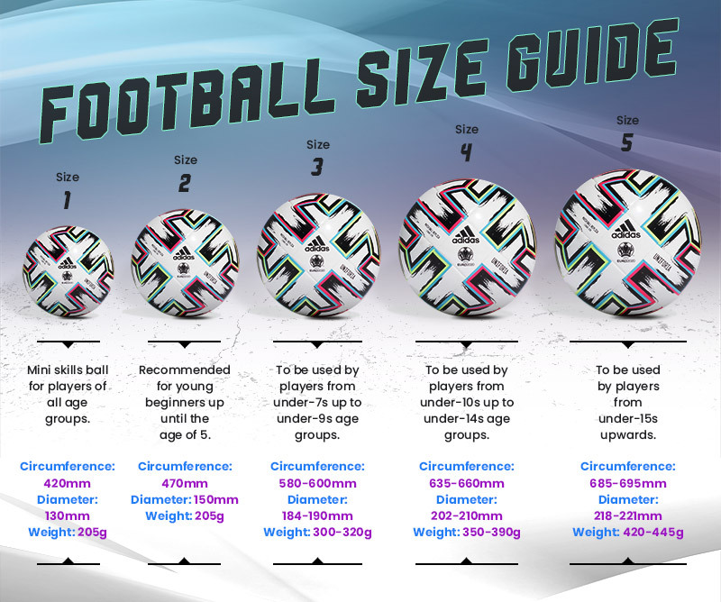 graphic displaying football sizes, measurements and weight