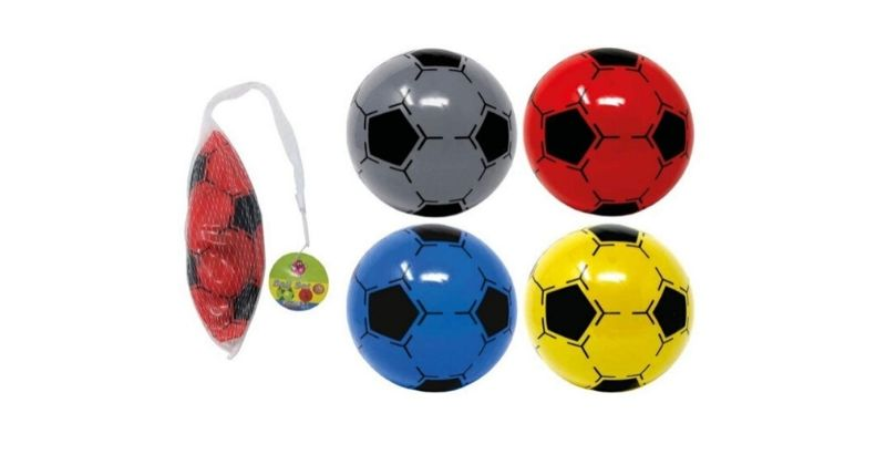 pack of brightly coloured plastic flyaway footballs