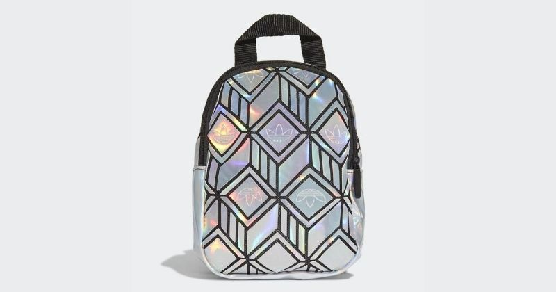adidas mini backpack in silver on white background