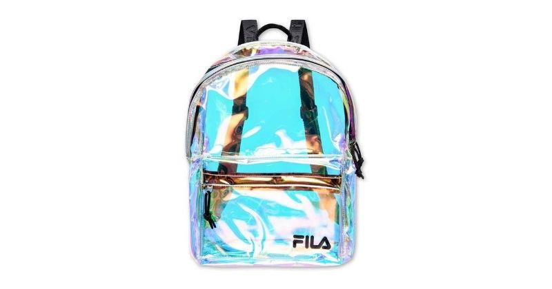 fila malmo backpack iridescent transparent on white background