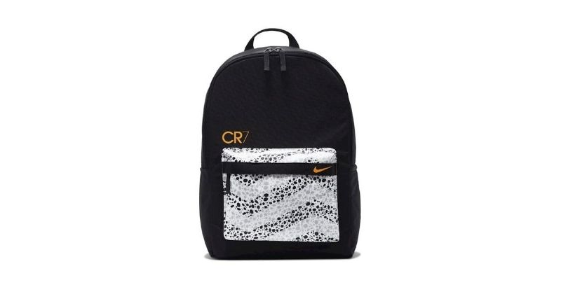 nike cr7 backpack in black on white background