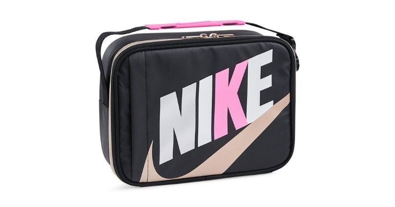 Nike lunch bag in black and pink on white background