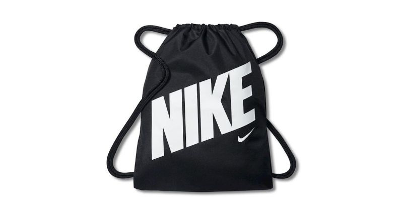 nike graphic gym sack in black on white background
