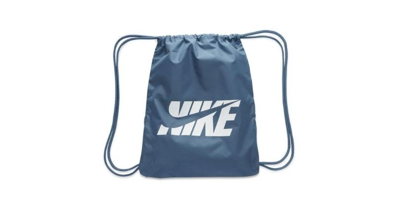 Nike graphic gym sack in blue on white background