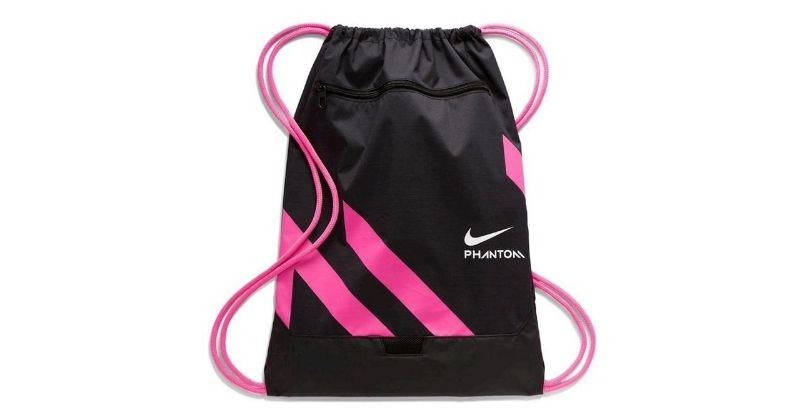 Nike phantom gym sack in black and pink on white background