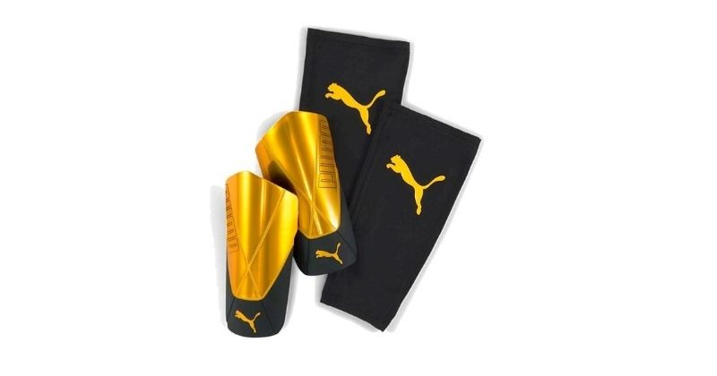 bright yellow puma pro flex shin pads
