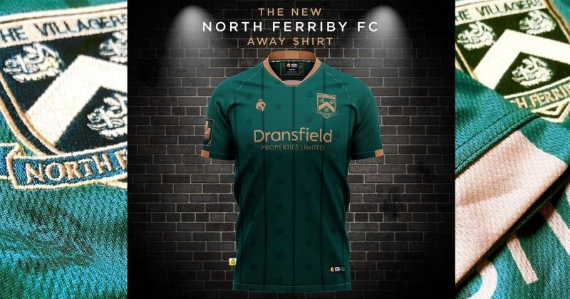 green and gold 2020-21 north ferriby away kit