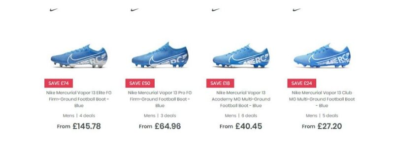 selection of prices across four different nike mercurial boots