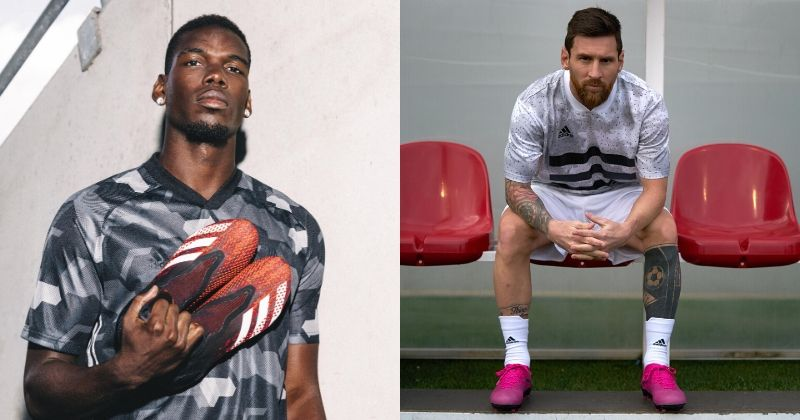 paul pogba and lionel messi with their adidas football boots