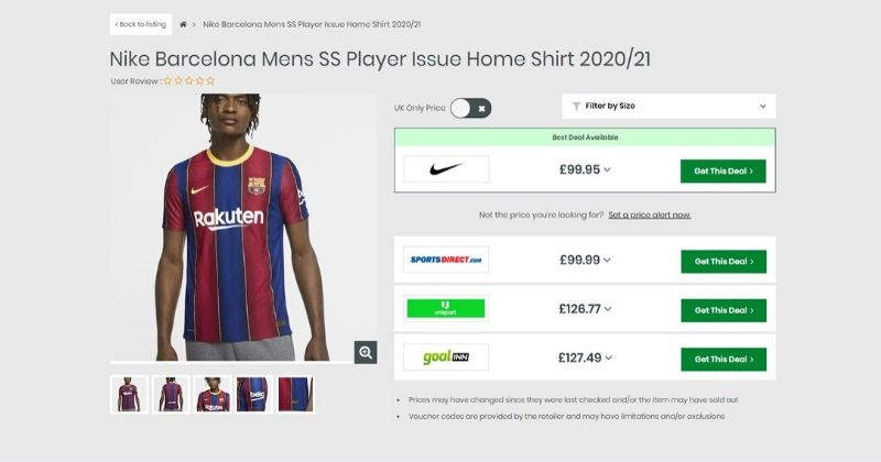 product listing for the barcelona 2020/21 authentic home kit