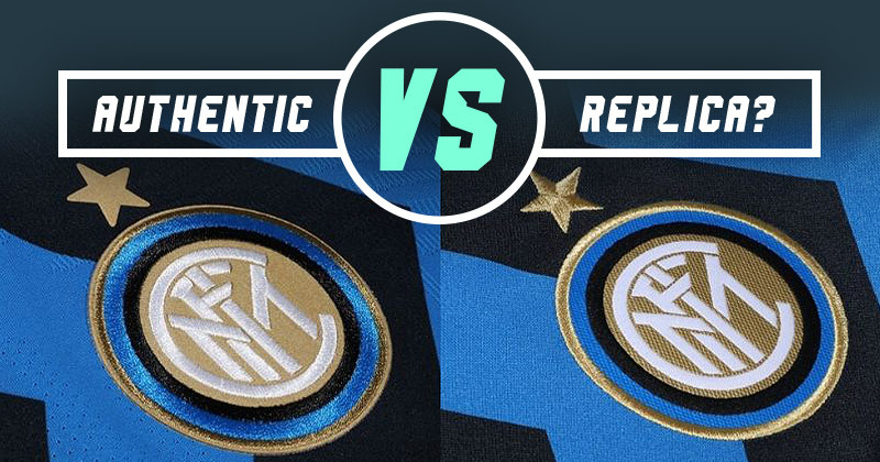 image showing how inter milan's badge looks different on the authentic and replica kits