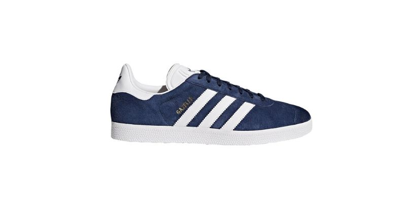 blue adidas gazelle trainers with white three stripes