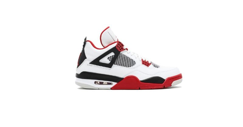 retro nike air jordan trainers in white and red