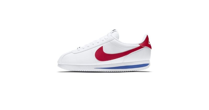 retro nike cortez in white with red swoosh logo