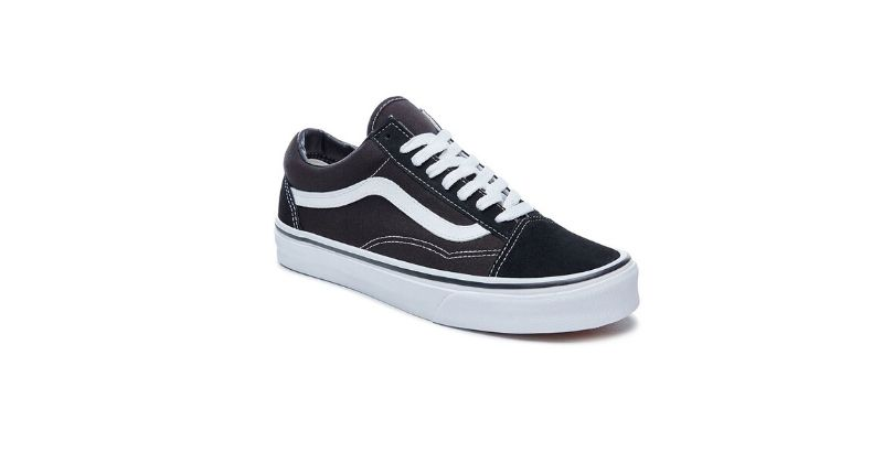 classic black and white vans old skool trainers