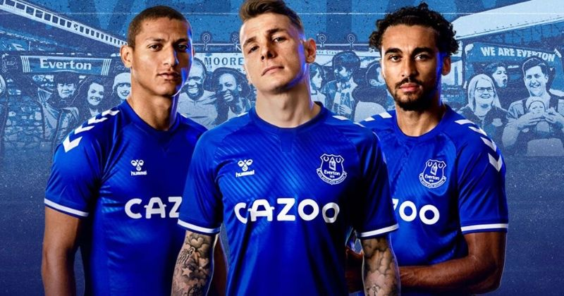 everton 2020-21 home kit worn by richarlison, digne and calvert-lewin